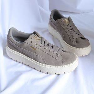 Wolf Gray suede platform trace puma sneakers